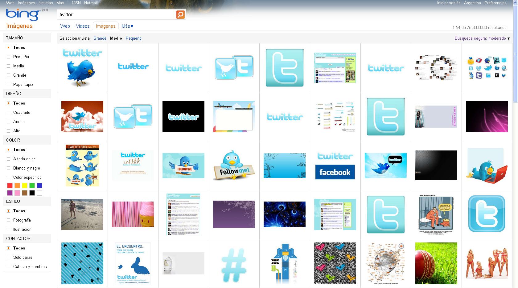 Captura de pantalla de Bing Imágenes