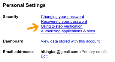 Captura de pantalla: Configuración de la cuenta