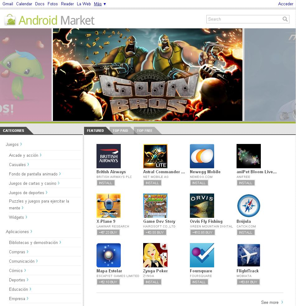Captura de pantalla: Android Market Web Store