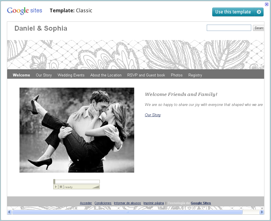 Google Sites for Weddings