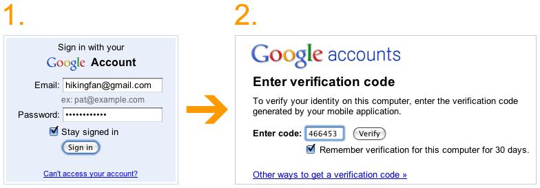 Captura de pantalla: Verificación en dos pasos