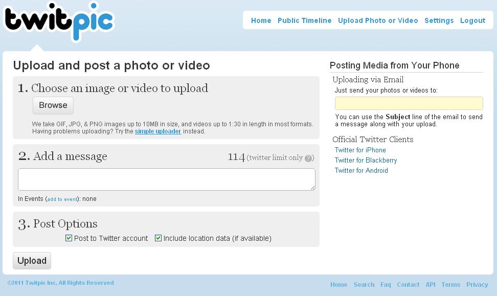 Captura de pantalla: Twitpic Upload