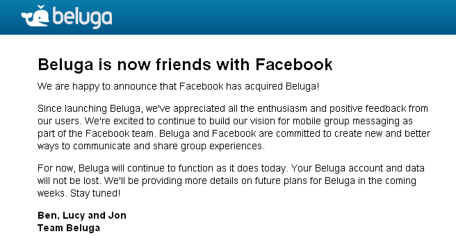Captura de pantalla - Beluga is now friends with Facebook