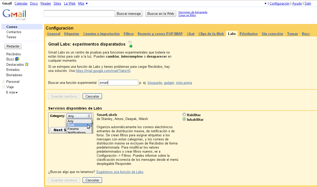 Activación de SmartLabels en Gmail - Captura de pantalla