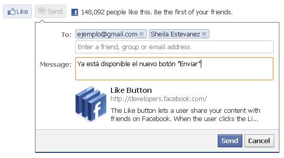 Facebook - Botón Enviar