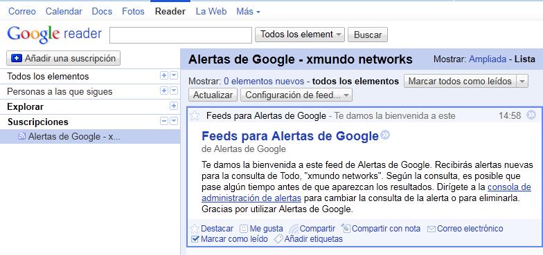 Alertas en Google Reader
