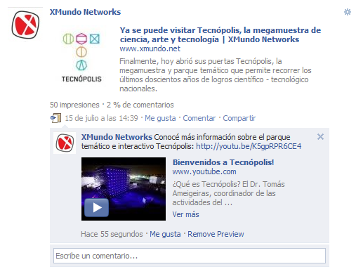 Captura de pantalla 1: Vista previa de videos de YouTube en comentarios de Facebook