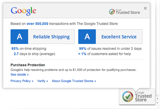 Insignia Google Trusted Stores