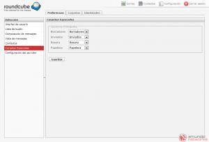 Webmail - Configuración: Carpetas especiales