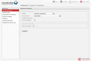 Webmail - Configuración: Interfaz de usuario