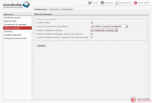 Webmail - Configuración: Vista de mensajes