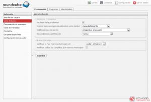 Webmail - Configuración: Vista de buzón