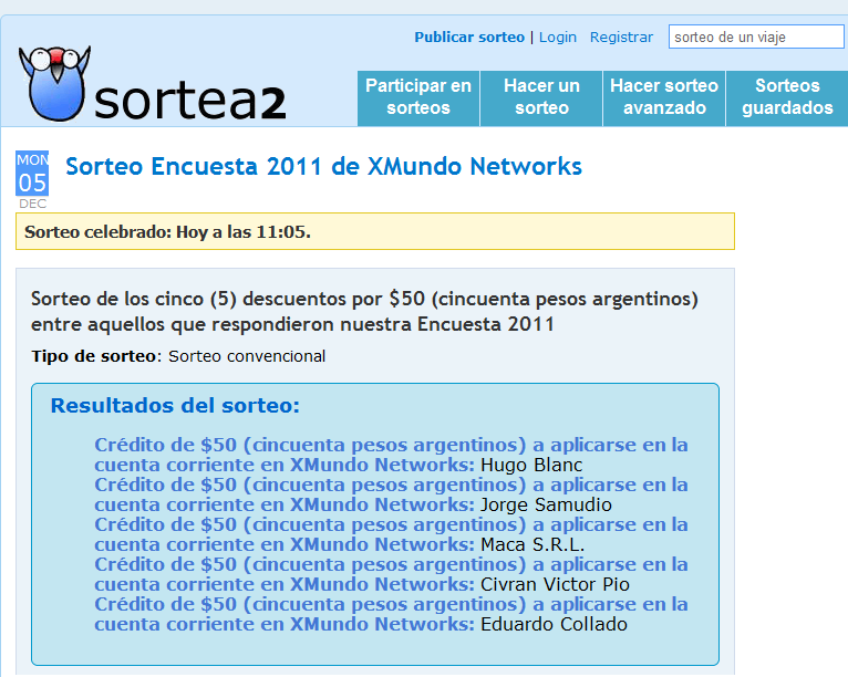 Sorteo Encuesta 2011